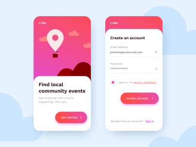 Sign up concept dailyui mobile signup gradient illustration ui