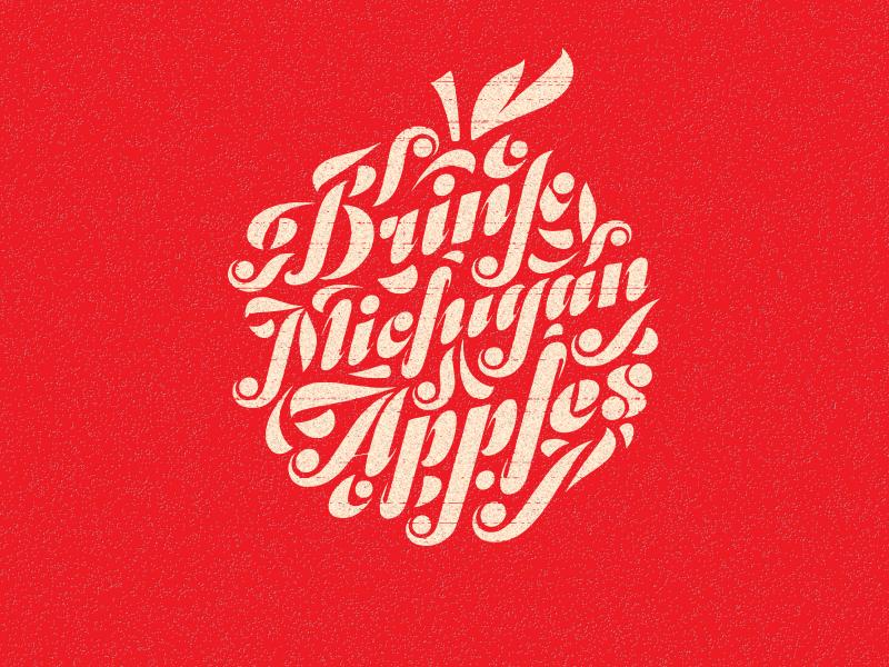 Drink Michigan Apples apple michigan apples cider beer lettering swash vllg odesta typography illustration drink