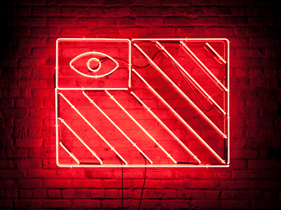 The All-Seeing Flag neon red gas glass chamber red light district brick texture tube electric eye flag all-seeing conspiracy national magic power logo illustration identity