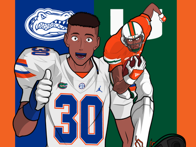 Miami Hurricanes Vs Florida Gators minimal anime colors characters character animation florida miami design 2d illustration dribbble
