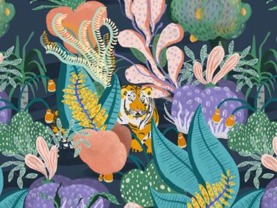 Tiger Reef Pattern repeat pattern repeating pattern tiger reef ocean jungle wallpapers adobe fresco digital art digital illustration illustration pattern design pattern wallpaper design wallpaper