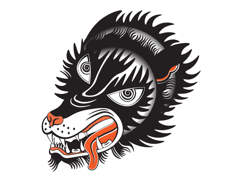Karaoke Club - The Wolves american traditional tattoo branding illustration