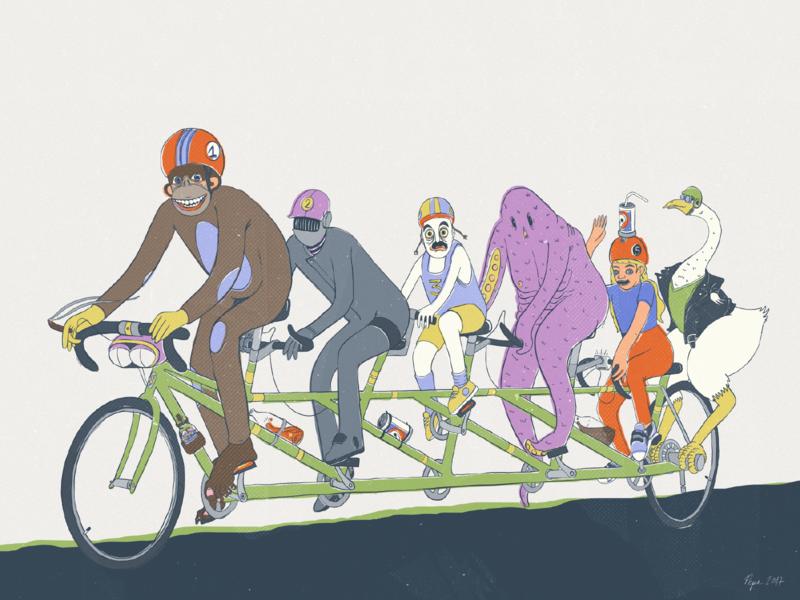 A Grand Day Out photoshop digital art digital illustration adobe draw goose bicycle illustration