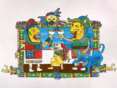 The Death Of The Patriarchy analog digital art digital illustration aztec illustration