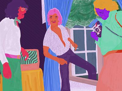 A Meeting In The Flamenco Parlor adobe sketch digital illustration digital art illustration