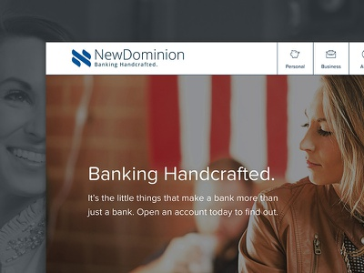 NewDominion Bank Redesign navigation menu identity branding banking redesign