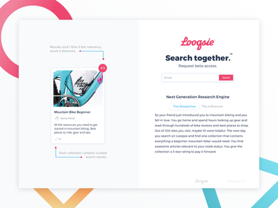 Looqsie - Research Engine beta startup landing page