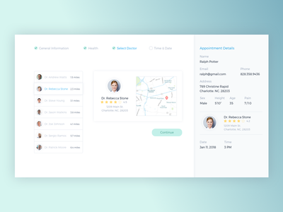Doctor Appointment Scheduler health ux ui card interface calendar doctor