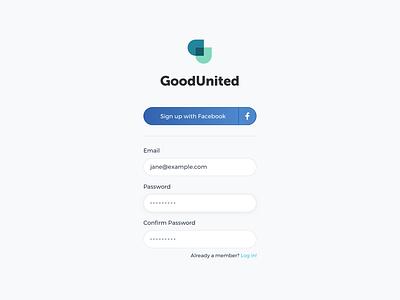 GoodUnited Login facebook auth interface design on-boarding ux ui