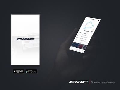 Concept Designs for GRIP cars logo branding interface design product design