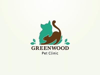 Greenwood Pet Clinic logo brown green dog cat pet adobe illustrator vector branding logotype logo