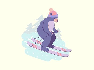 Bear vacation vacation winter skiing flat cartoon vector illustration snow ski bear