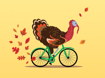 Thanksgiving funny cycling bike bicycle yellow animals illustration turkey thanksgiving