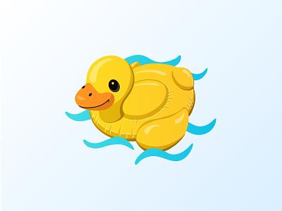 Duck Float design water procreate vector illustration icon summer float duck