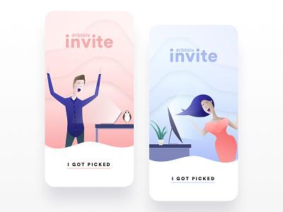 Dribbble Invites Illustations mobile porg illustration pastel invite