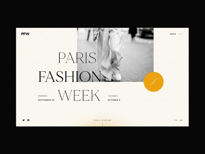PFW - Home screen black web design graphicdesign typography identity website concept fashion brand paris fashion week fashion website design website