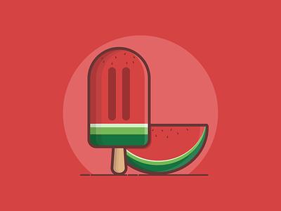 Watermelon Popsicle fruit watermelon popsicle popsicle watermelon flat vector illustration design