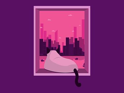 Enjoying City View window city cat flat vector illustration design
