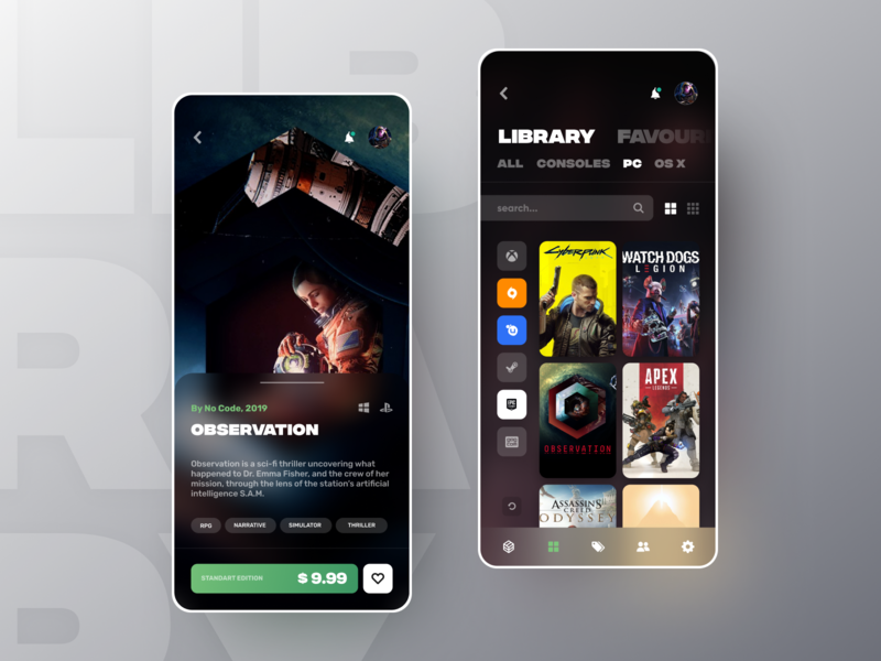 Game Library web library observation game colors app ux interface ui design