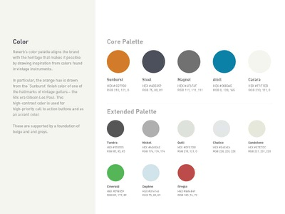 Reverb One Page Style Guide style guide reverb style guide styleguide color palette