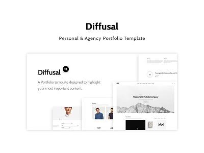 Diffusal - Creative Portfolio Template minimal clean template unique design website personal agency creative