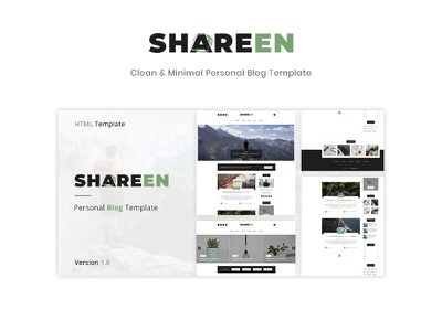 Shareen - Personal Blog Template layout blog post minimal clean themeforest template blog personal html5 template css3 creative awesome