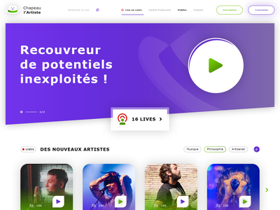 Chapeau l'Artiste. Homepage video play jackpot psd mockup livestream live purple platform artist hat photoshop psd homepage responsive web design ux ui ui  ux