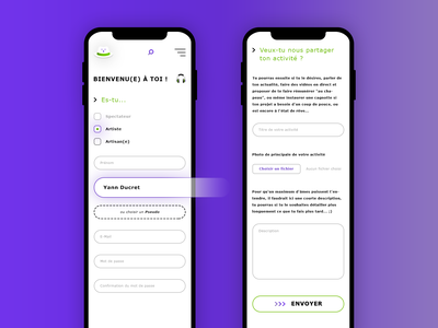 Chapeau l'Artiste. Responsive Form 🎩 web  design ux ui green purple gradient icons button input form responsive mobile iphone mock up photoshop psd hat artist