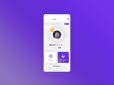 Profile User Dashboard. Hybrid app #Freebies application app purple ui mock up settings members mobile freebies free photoshop psd ux ui dashboard user profile