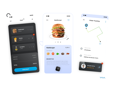 Street Food Delivery #Hybrid App #Freebies address map hamburger cart items order tracking delivery uber eats street food application app mock up icons ux ui freebies free photoshop psd