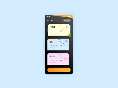 Manage Credit Cards market store martercard visa paypal credit cards application app ios android mobille ux ui freebies free photoshop psd