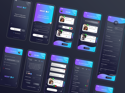 Night Out. Hybrid App 🌑 party form gradient night application ios android hybrid app mock up icons ux ui photoshop psd