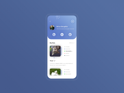 My Pets. App #Freebies graphic design dashboard user profile blue android ios application app dog cat animals pets design icons ux ui freebies free photoshop psd