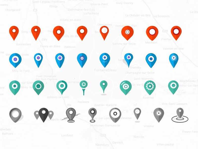 32x Pins Map Location. Icons Set #Freebies pins location map icons set circle round free freebies weather contact psd photoshop flat