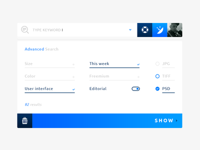 Advanced Search @Rebound #Freebies results pop up check free freebies flat photoshop psd trash button input search