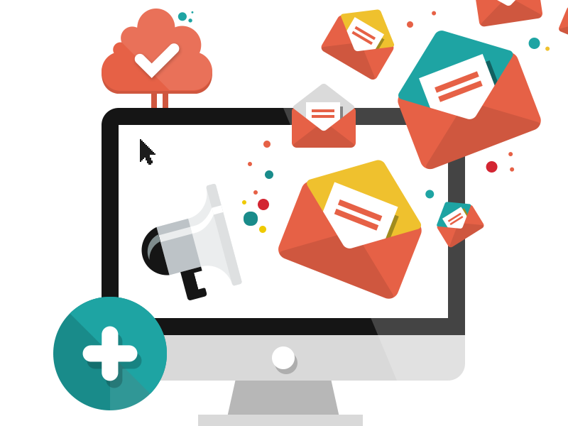 Mailing Illustration photoshop psd screen check cloud circle round plus icons speaker email mailing