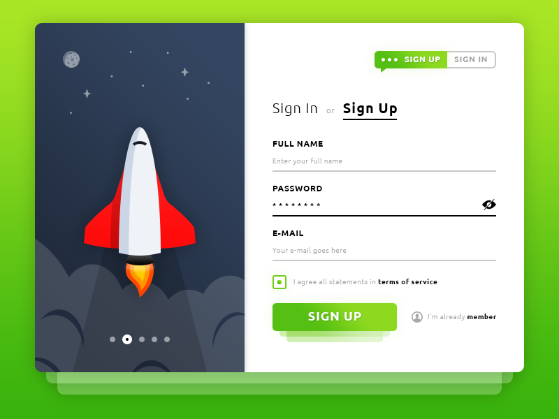 Sign Up. Rocket Form #Freebies ux ui photoshop psd freebies free inscription input form rocket icons sign up