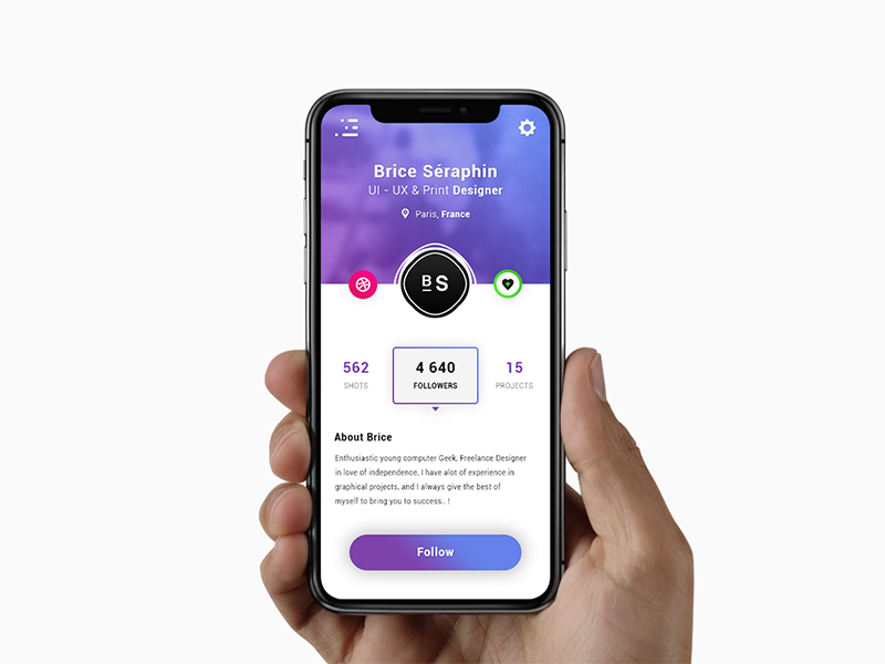 User Profile. App #Freebies ux ui followers mock up iphone x about photoshop psd stats freebies free user profile app