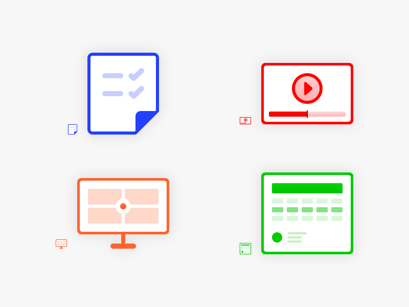 4 Icon Set #Freebies wireframe checked photoshop psd video browser device list freebies free icons icon set