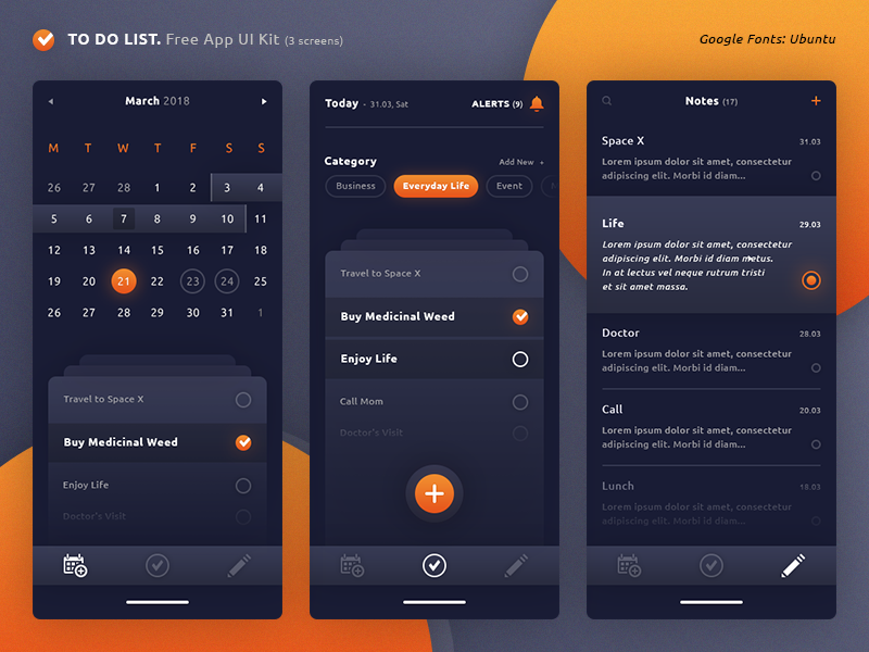 To do list app ui kit freebies by brice s raphin for Good room design apps