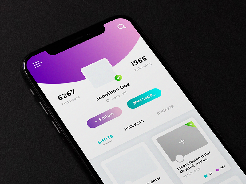 User Profile App #Freebies freebies free photoshop psd items portfolio user profile followers icons ui ux app