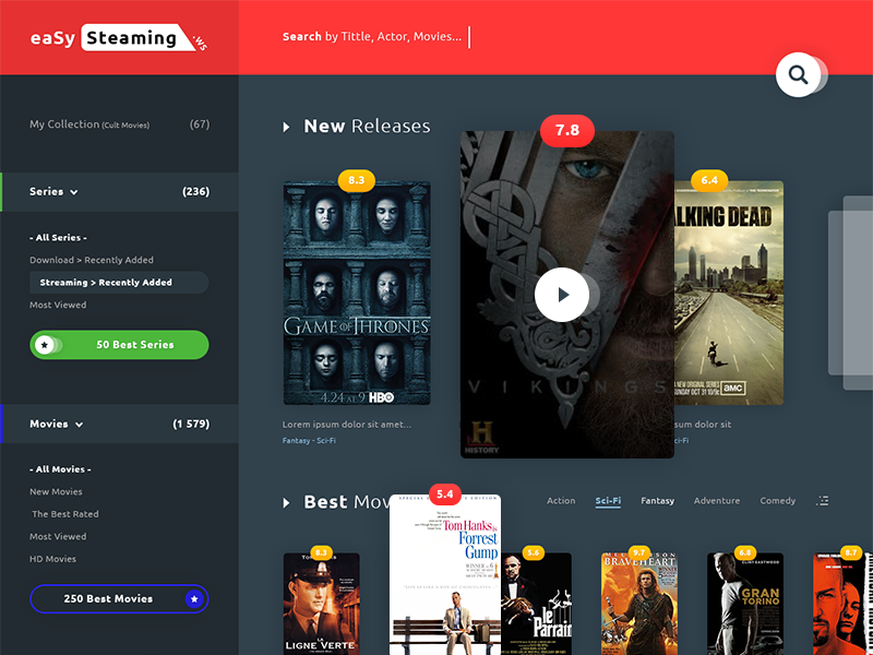 Streaming Movie UI rating play cover filter slider series photoshop psd streaming movie ux ui