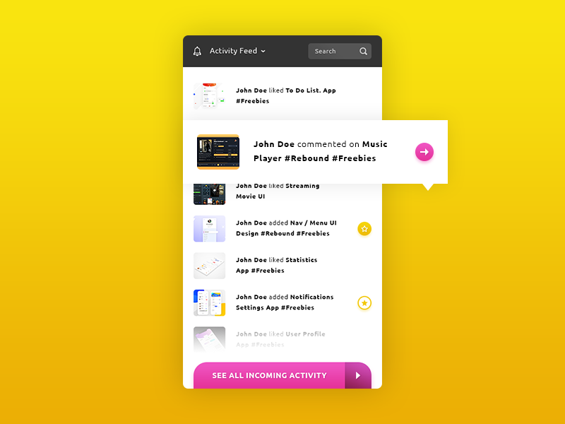 Activity Feed App #Freebies arrow star commented liked activity feed photoshop psd freebies free app ux ui
