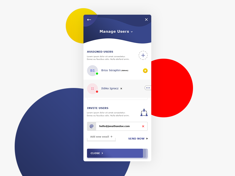 Manage Users App. UI Design #Rebound #Freebies email invite users assigned users photoshop psd freebies free rebound manage users app ux ui