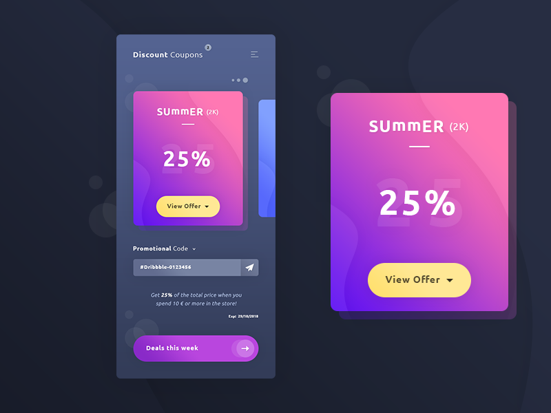 Discount Coupons App #Freebies input gradient iphone x promo code photoshop psd freebies free ux ui app