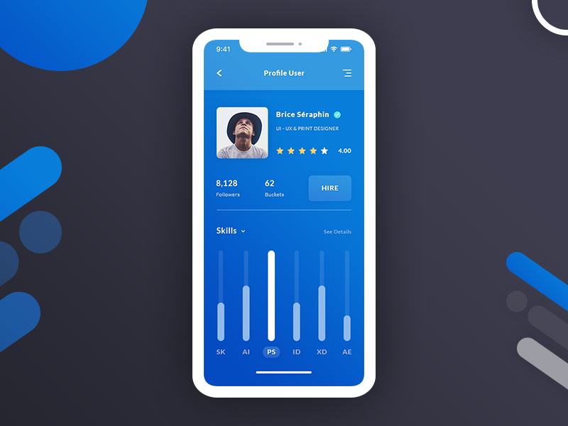 Profile User & Dashboard - App UI / UX #Freebies user statistic skills settings photoshop psd freebies free ios app ui ux dashboard profile user