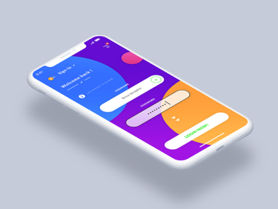 Login - Sign In. IOS App #Freebies mock up ihpone x free freebies psd photoshop ui ux form icons button inputs colors round ios app login sign in