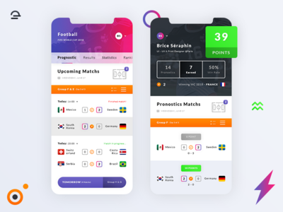 Pronostics Football World Cup 2018. IOS App iphone x statistics bet icons results scores psd photoshop free freebies ui ux ios app world cup 2018 pronostics football