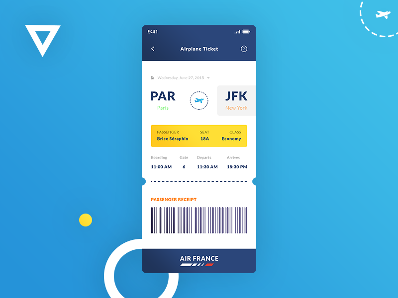 Airplane Ticket. IOS App #Freebies boarding air france receipt qr code airport iphone x psd photoshop ui ux free freebies ios app plane airplane ticket