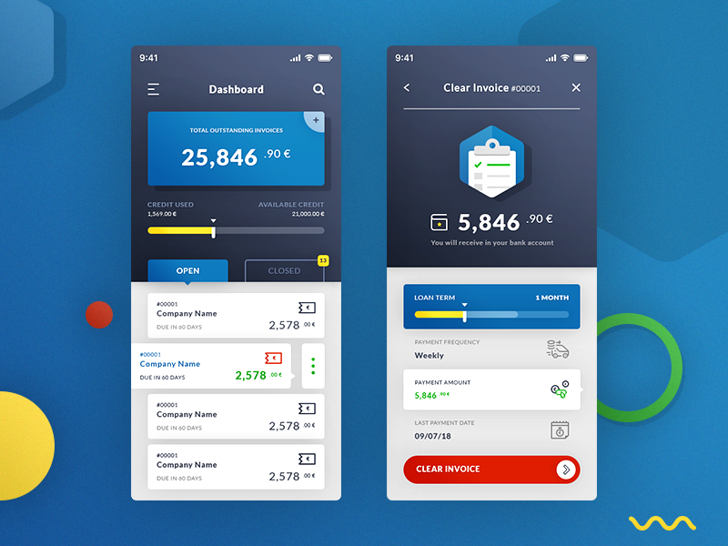 Dasboard & Clear Invoices. App #Freebies wallet payment euros progress bar icons invoices clear dashboard ios app free freebies psd photoshop ui ux